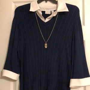 2 Used Kim Rogers women's tops. Navy blue & Red